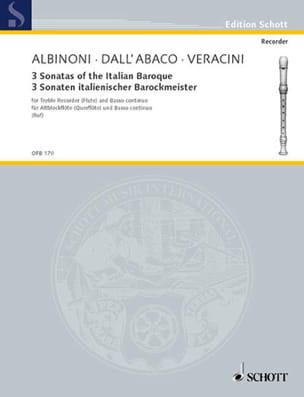 Albinoni Tomaso / Dall'Abaco Evaristo Felice / Veracini Francesco M. - 3 Sonaten Italianischer Barockmeister - Sheet Music - di-arezzo.co.uk