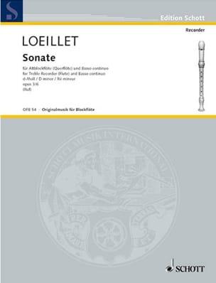 Jean-Baptiste Loeillet - Sonate d-moll, op. 3 n° 6 - Altblockflöte u. Bc - Partition - di-arezzo.fr