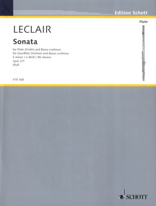 Jean-Marie Leclair - Sonata E minor op. 2 n ° 1 - Flute and Bc - Sheet Music - di-arezzo.co.uk