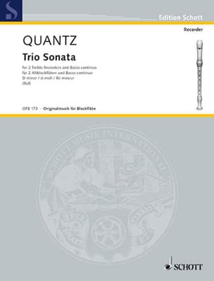 Johann Joachim Quantz - Sonata Trio d-moll - 2 Altblockflöten u. Bc - Sheet Music - di-arezzo.co.uk
