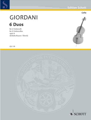 6 Duos, op. 4 Tommaso Giordani Partition Violoncelle - laflutedepan