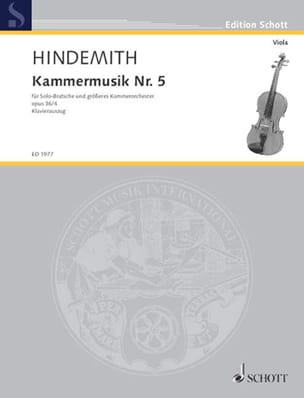 Paul Hindemith - Kammermusik Nr. 5, op. 36 n° 4 - Partition - di-arezzo.fr