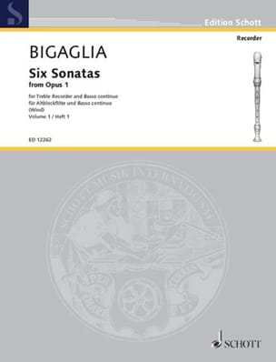 Diogenio Bigaglia - 6 Sonatas From Op. 1 - Volume 1 - Partition - di-arezzo.fr