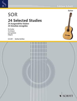 24 Selected Studies - Guitare Fernando Sor Partition laflutedepan