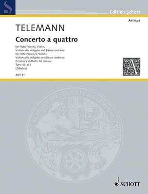 Georg Philipp Telemann - Concerto a quattro d-moll –Flöte Violine Violoncello obl. u. BC - Partition - di-arezzo.fr