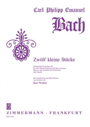 Carl Philipp Emanuel Bach - 12 Kleine Stücke Wq 81 - 2 Flöten Bc - Sheet Music - di-arezzo.com