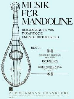 Siegfried Behrend - Invention / 3 Mementos -2 Mandolinen - Partition - di-arezzo.fr