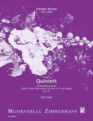 Theodor Blumer - Quintett op. 52 – Blasinstrumente - Stimmen - Partition - di-arezzo.fr