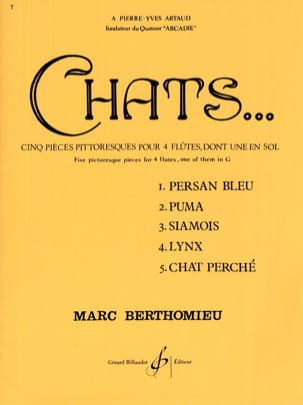 Marc Berthomieu - Cats - 4 Flutes - Sheet Music - di-arezzo.co.uk