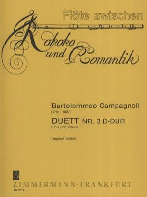 Bartolomeo Campagnoli - Duett Nr. 3 D-Dur – Flöte Violine - Partition - di-arezzo.fr