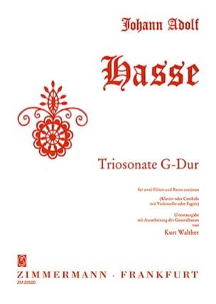 Johann Adolf Hasse - Triosonate G-Dur –2 Flöten Bc - Partition - di-arezzo.fr