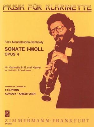 Bartholdy Felix Mendelssohn - Sonate f-moll op. 4 – Klarinette Klavier - Partition - di-arezzo.fr