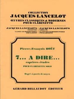 Pierre-François Boet - 7... à dire... - Partition - di-arezzo.fr