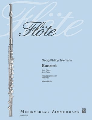 Georg Philipp Telemann - Concerto Pour 4 Flûtes - Partition - di-arezzo.fr