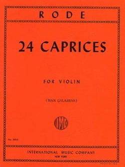 Pierre Rode - 24 Caprices (Galamian) - Partition - di-arezzo.fr