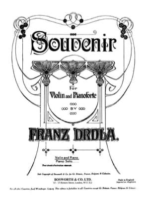 Franz Drdla - Souvenir - Partition - di-arezzo.fr