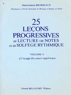 BOURDEAUX - 25 Progressive Lessons for Reading Notes and Rhythmic Solfeggio Vol.5 - Sheet Music - di-arezzo.co.uk