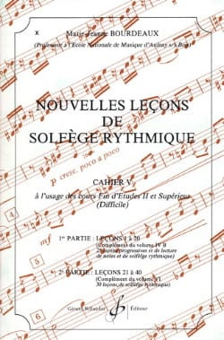 BOURDEAUX - New lessons in rhythmic solfeggio Volume 5 - Sheet Music - di-arezzo.co.uk
