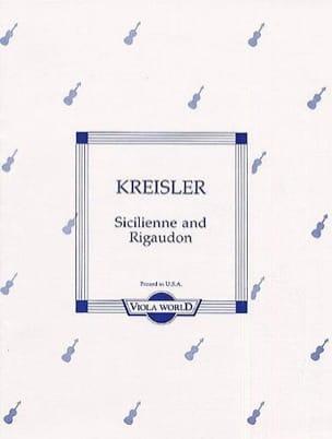 Fritz Kreisler - Sicilienne und Rigaudon - Viola - Partition - di-arezzo.fr