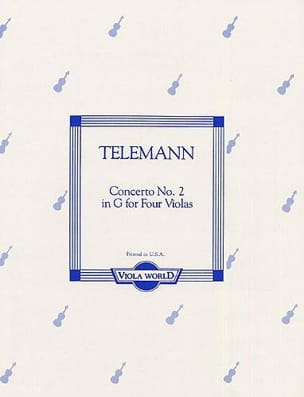 Concerto n° 2 in G - 4 altos TELEMANN Partition Alto - laflutedepan