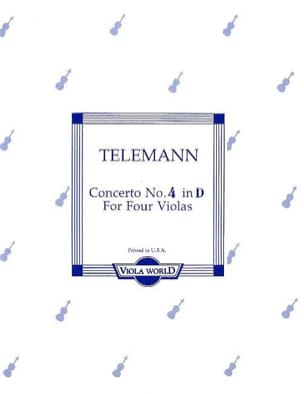 Concerto n° 4 in D - 4 altos TELEMANN Partition Alto - laflutedepan