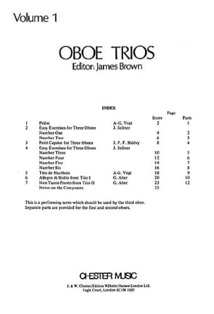 Oboe Trios Volume 1 - 3 Hautbois - James Brown - laflutedepan.com