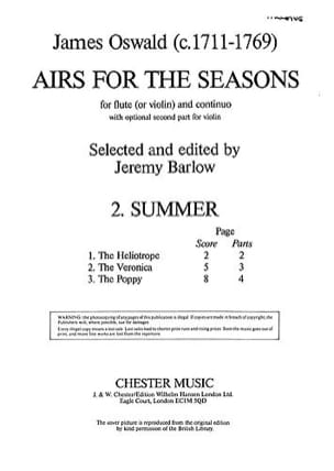 James Oswald - Airs For The Seasons Summer - Flûte et Piano - Partition - di-arezzo.fr