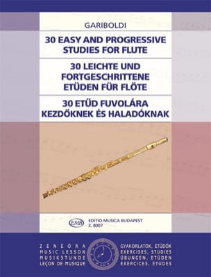 30 Easy and progressive studies for flute GARIBOLDI laflutedepan