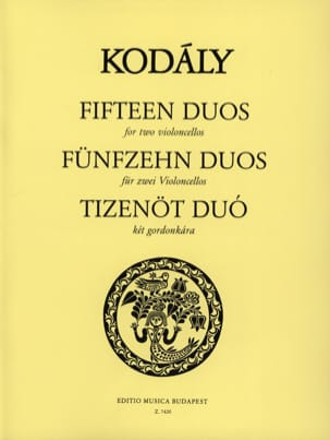 Zoltan Kodaly - 15 Duos - 2 cellos - Sheet Music - di-arezzo.co.uk