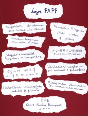 Lajos Papp - Variations hongroises - Partition - di-arezzo.fr