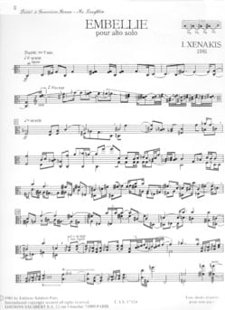 Embellie - Iannis Xenakis - Partition - Alto - laflutedepan.com