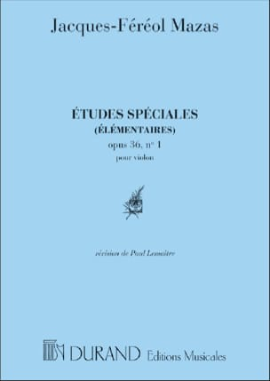 MAZAS - Etudes spéciales op. 36 n° 1 Lemaître - Partition - di-arezzo.fr
