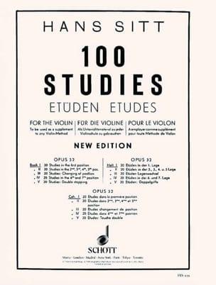 Hans Sitt - 100 Etudes op. 32 - Cahier 1 - Partition - di-arezzo.fr