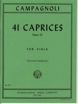 41 Caprices op. 22 - Viola Bartolomeo Campagnoli laflutedepan