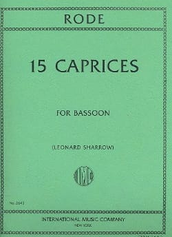 Pierre Rode - 15 Caprices - Basson - Partition - di-arezzo.fr