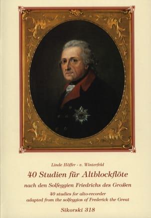 Winterfeld Linde Höffer-von - 40 Studien für Altblockflöte - Partition - di-arezzo.fr