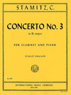Carl Stamitz - Concerto n° 3 Bb major – Clarinet piano - Partition - di-arezzo.fr