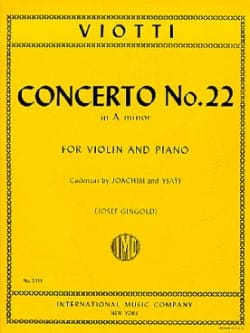 Concerto n° 22 in A minor VIOTTI Partition Violon - laflutedepan
