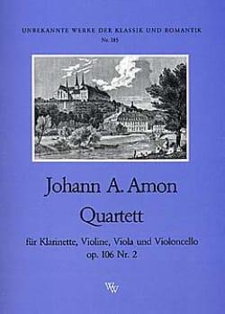 Johann Andreas Amon - Quartett op. 106 Nr. 2 –Klarinette Violine Viola Cello - Partition - di-arezzo.fr