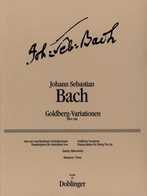 BACH - Variations Goldberg - Trio à cordes - Partition - di-arezzo.fr