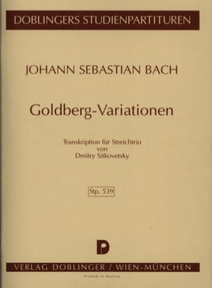 BACH - Goldberg - Variationen Streichtrio - conducteur - Partition - di-arezzo.fr