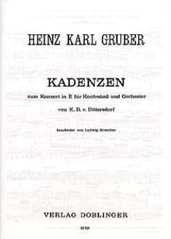 Heinz Karl Gruber - Kadenzen zum Konzert in E von Dittersdorff - Partition - di-arezzo.fr