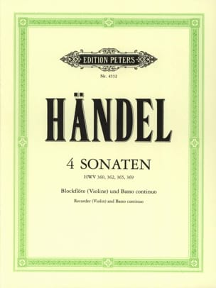 HAENDEL - 4 Sonaten - Blockflöte Violine u. Bc - Sheet Music - di-arezzo.co.uk
