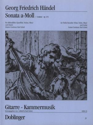 HAENDEL - Sonata a-moll op. 1 n° 4 - Altblockflöte Flöte, Violine, Oboe Gitarre - Partition - di-arezzo.fr