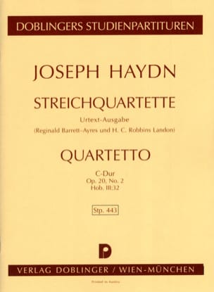 HAYDN - Streichquartett C-Dur op. 20 n ° 2 Hob. 3: 32 - Partitur - Sheet Music - di-arezzo.co.uk
