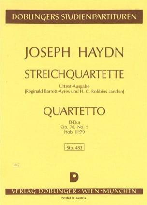 Streichquartett D-Dur op. 76 n° 5 Hob. 3 : 79 –Partitur - laflutedepan.com