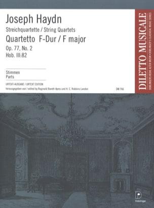 Joseph Haydn - Streichquartett F-Dur op. 77 n° 2 –Stimmen - Partition - di-arezzo.fr