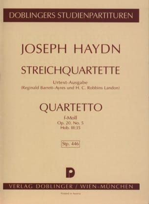 HAYDN - Streichquartett f-moll op. 20 no. 5 Hob. 3:35 - Partitur - Sheet Music - di-arezzo.co.uk