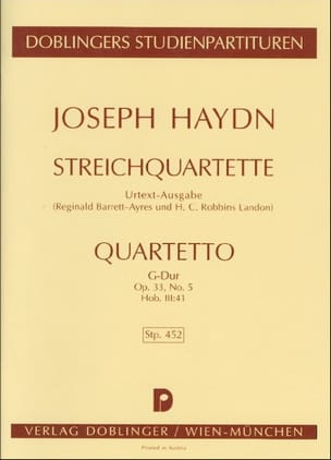 HAYDN - Streichquartett G-Dur op. 33 no. 5 Hob. 3:41 - Partitur - Sheet Music - di-arezzo.co.uk