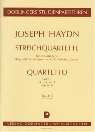 HAYDN - Streichquartett G-Dur op. 33 n° 5 Hob. 3 : 41 - Partitur - Partition - di-arezzo.fr